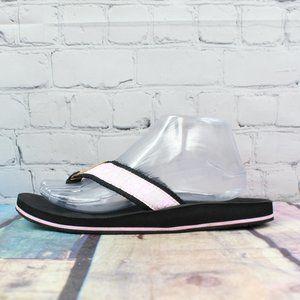 LL BEAN Pink Floral Black Nylon Thong Sandals Sz 9